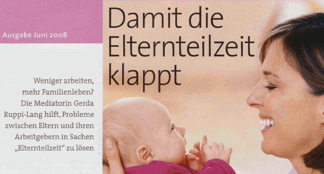 Bild einer Mutter mit Baby - Link zum Artikel in der Zeitschrift ELTERN 06/2008